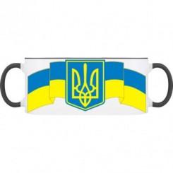 Кружка двухцветная 320 мл. с Гербом Украины на фоне флага