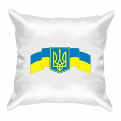 Подушка с Гербом Украины на фоне флага - Moda Print