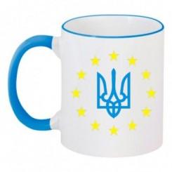 Чашка двухцветная Герб Украины, звездочки вокруг - Moda Print