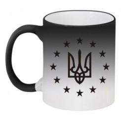 Кружка-хамелеон Герб Украины, звездочки вокруг - Moda Print