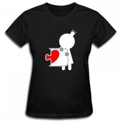 Футболка женская пазлик с сердечком ж - Moda Print