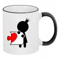 Чашка двухцветная пазлик с сердечком ж - Moda Print