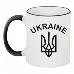 Чашка двокольорова з Гербом України і написом - Moda Print