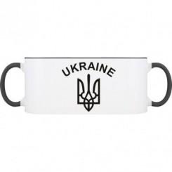 Кружка двухцветная с Гербом Украины и надписью - Moda Print