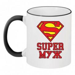Чашка двокольорова Супер чоловік - Moda Print