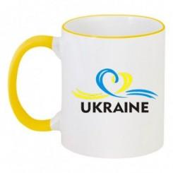 Чашка двухцветная UKRAINE (Сердечко с ленточкой) - Moda Print