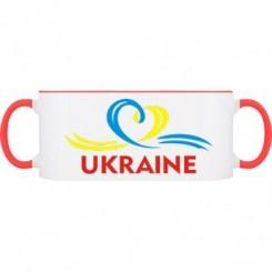 Кружка двухцветная UKRAINE (Сердечко с ленточкой) - Moda Print