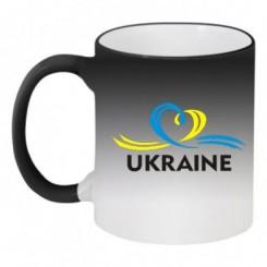 Кружка-хамелеон UKRAINE (Сердечко з стрічкою) - Moda Print