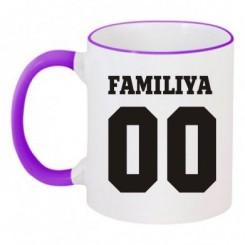 Чашка двухцветная Ваша фамилия и номер - Moda Print