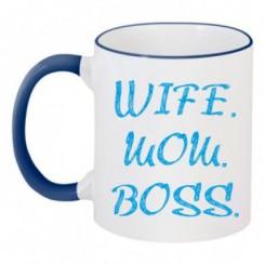 Чашка двухцветная Wife Mom Boss