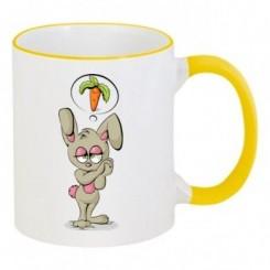 Чашка двухцветная Зайчик мечтает об морковке - Moda Print